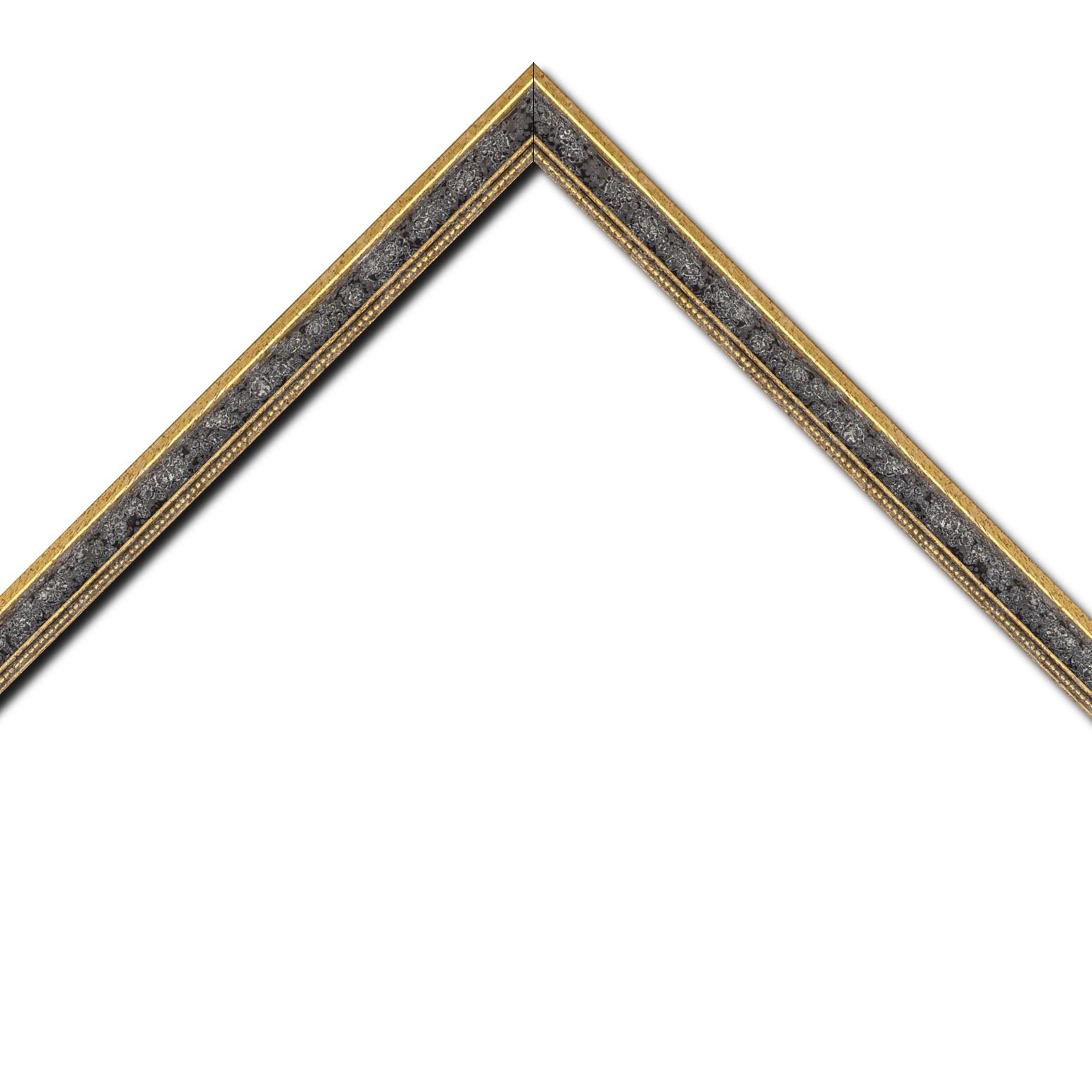 Baguette bois profil incuvé largeur 2.4cm  or antique gorge gris vieilli filet perle or