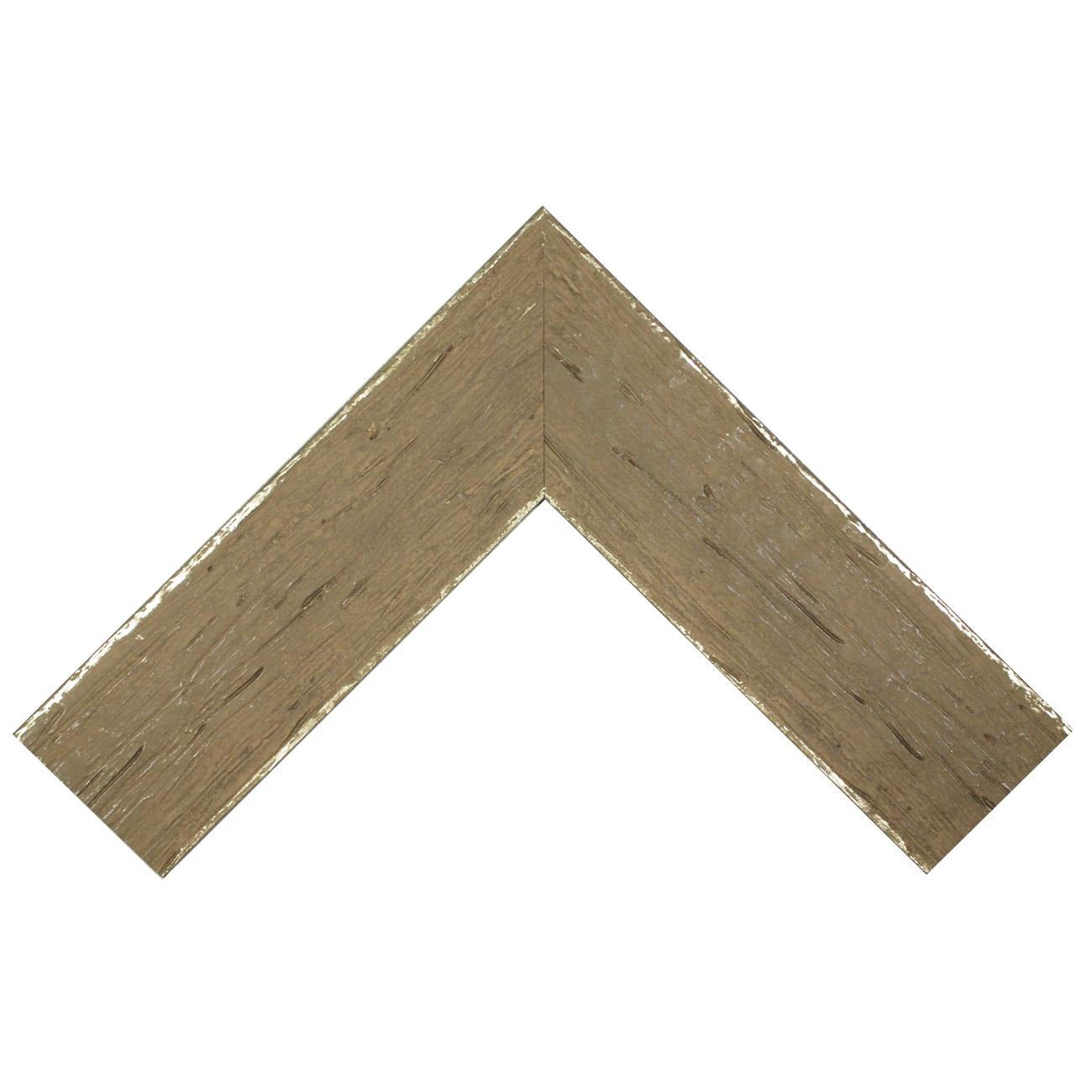 Baguette bois profil plat largeur 9.6cm couleur mastic filet argent chaud sur les bords antique