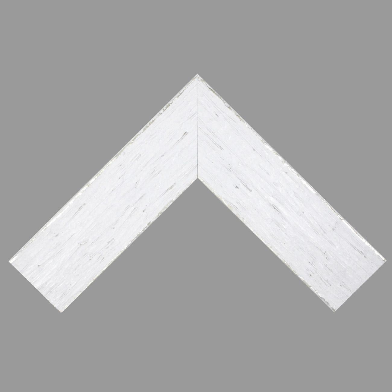 Baguette bois profil plat largeur 9.6cm couleur blanc filet argent chaud sur les bords antique