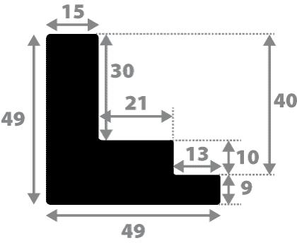 Baguette bois caisse américaine xl profil escalier largeur 4.9cm naturel brut (spécialement conçu pour les châssis 3d d'une épaisseur de 3 à 4cm) sans verni,peut être peint...