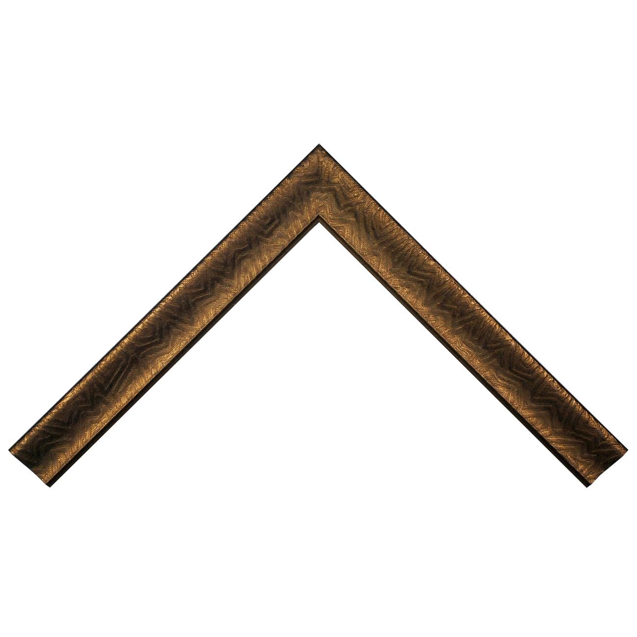 Baguette bois profil incurvé largeur 4.5cm cuivre foncé finition aspect cuir
