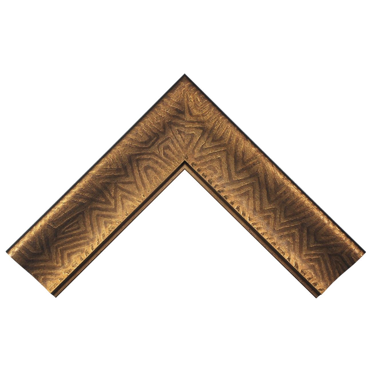 Baguette bois profil incurvé largeur 9.4cm cuivre foncé finition aspect cuir