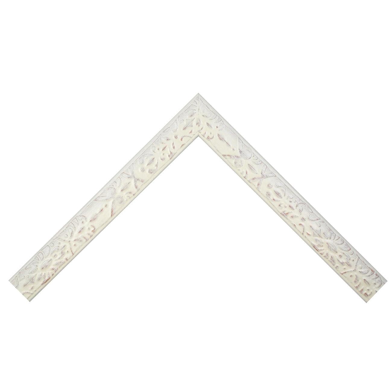 Baguette bois profil plat largeur 4cm couleur blanchie décapé décor frise en relief
