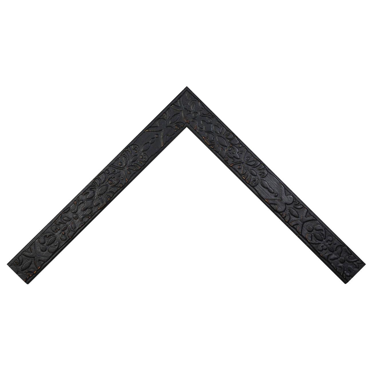 Baguette bois profil plat largeur 4cm couleur noir ébène décapé décor frise en relief