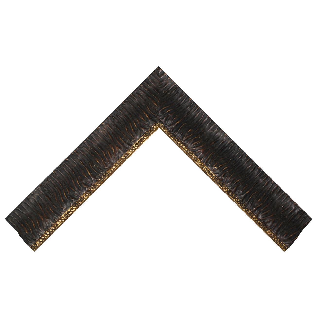 Baguette bois profil inversé largeur 7cm couleur chocolat ancien décor plissé filet or boule