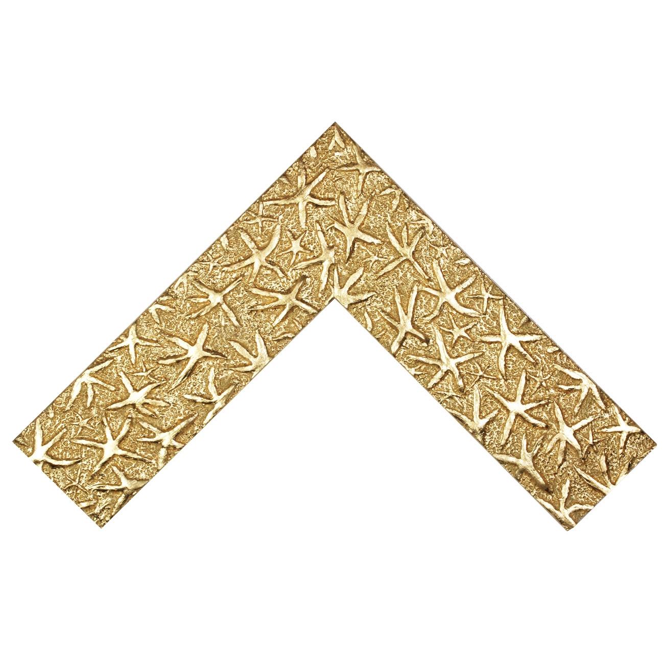 Baguette bois profil plat largeur 9.5cm or lumineux décor étoile