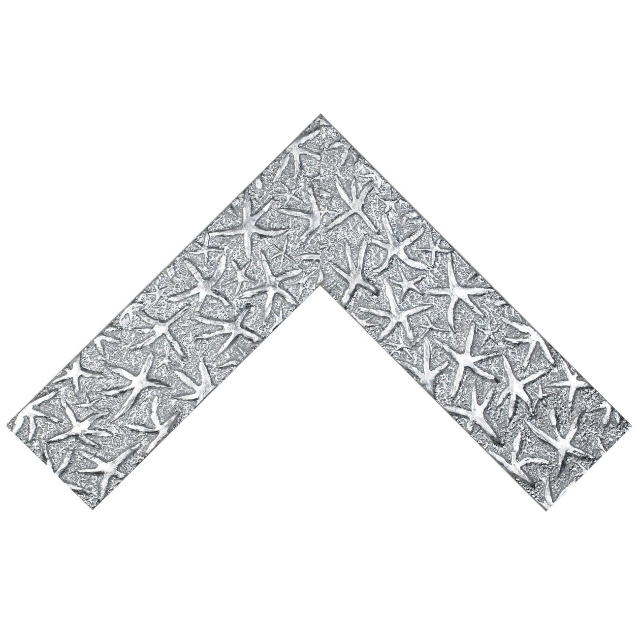 Baguette bois profil plat largeur 9.5cm argent lumineux décor étoile