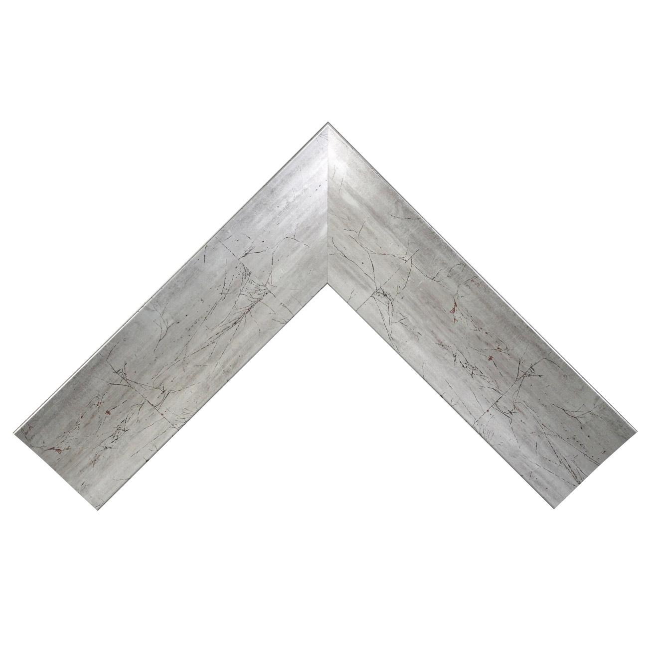 Baguette bois profil incurvé plat largeur 9cm argent effet marbré