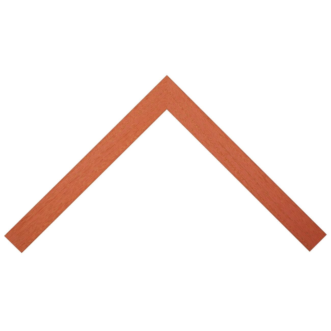 Baguette bois profil plat largeur 3.8cm couleur orange saumoné pore du bois apparent
