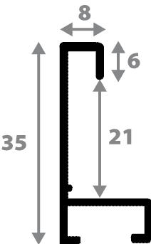 Baguette aluminium profil plat largeur 8mm, placage véritable noyer ,(le sujet qui sera glissé dans le cadre sera en retrait de 6mm de la face du cadre assurant un effet très contemporain) mise en place du sujet rapide et simple: il faut enlever les ressorts qui permet de pousser le sujet vers l'avant du cadre et ensuite à l'aide d'un tournevis plat dévisser un coté du cadre tenu par une équerre à vis à chaque angle afin de pouvoir glisser le sujet dans celui-ci et ensuite revisser le coté (encadrement livré monté prêt à l'emploi )