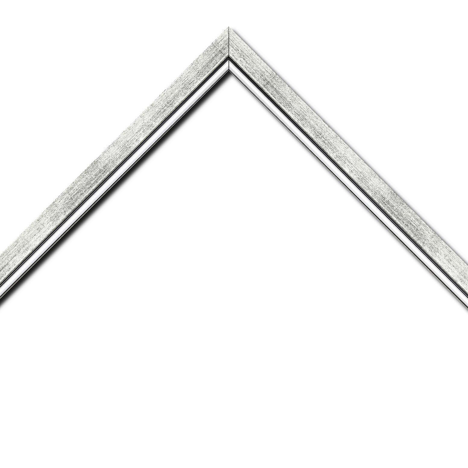 Baguette bois profil plat largeur 2.5cm couleur argent chaud filet argent froid surligné noir
