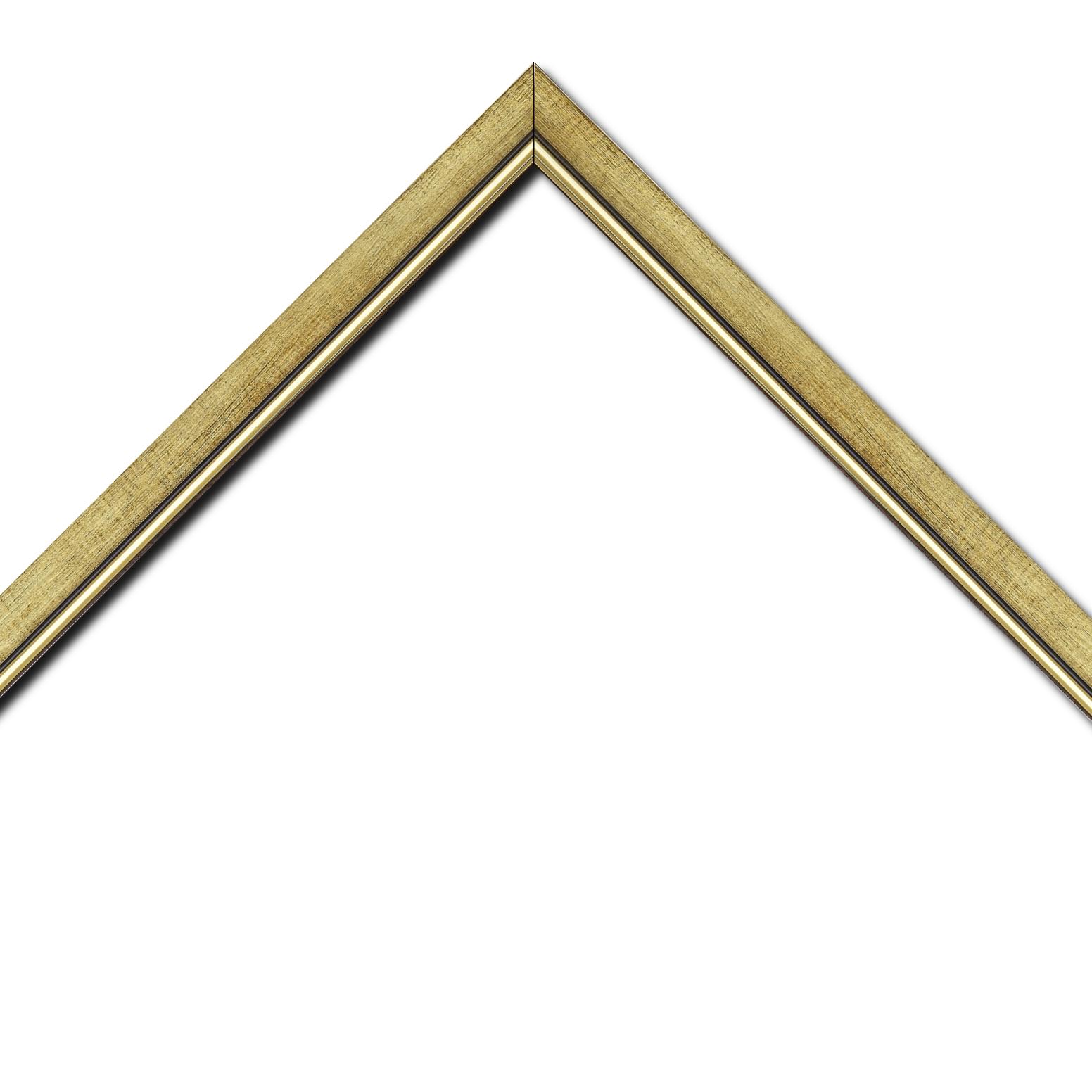 Baguette bois profil plat largeur 2.5cm couleur or filet or surligné noir