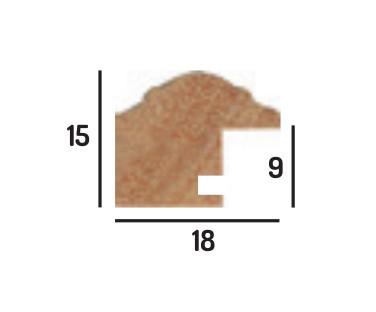 Cadre baguette bois longueur de 3 mètres profil arrondi largeur 1.8cm de couleur or (pack de 6x3mètres) - 21x29.7