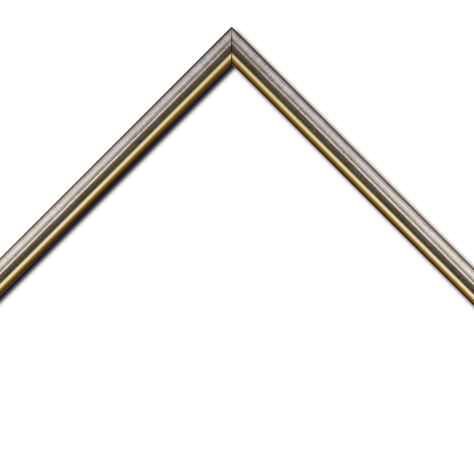 Baguette bois profil arrondi largeur 2.1cm  couleur plomb filet or