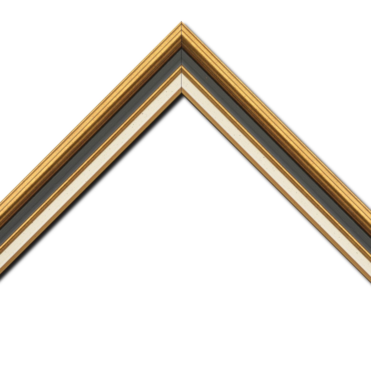 Baguette bois largeur 5.2cm or gorge noire  marie louise crème filet or intégrée
