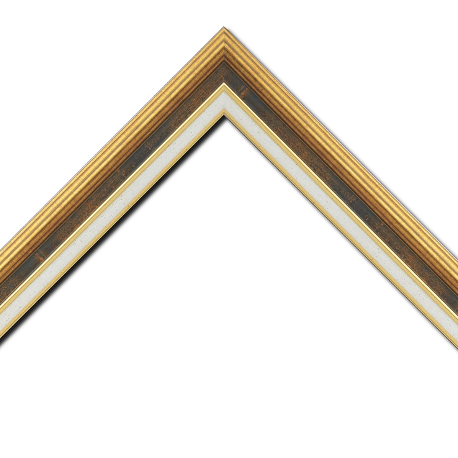 Baguette bois largeur 5.2cm or gorge bleu fond or marie louise crème filet or intégrée