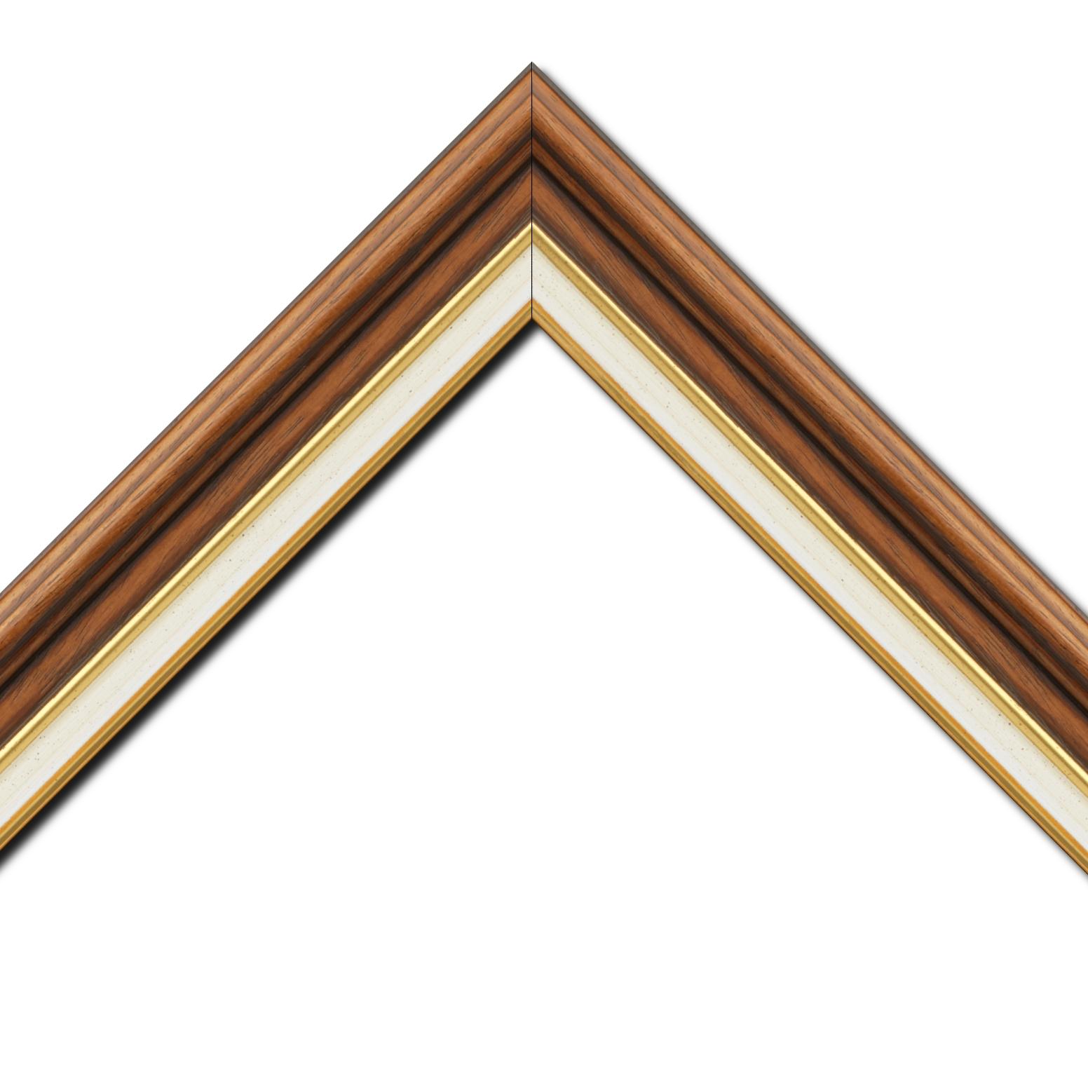 Baguette bois largeur 5.2cm marron rustique  marie louise crème filet or intégrée