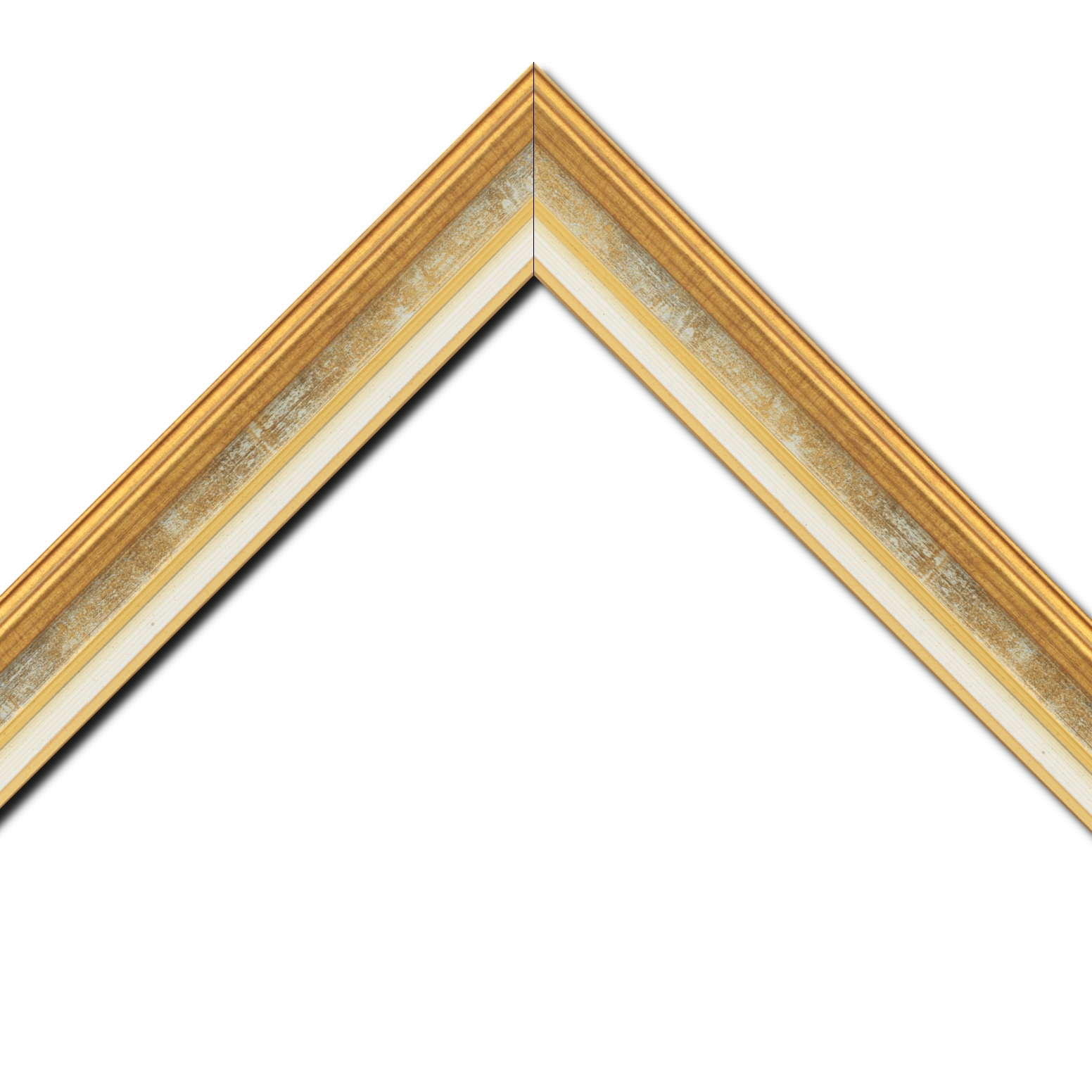 Baguette bois largeur 5.2cm or gorge gris fond or  marie louise crème filet or intégrée