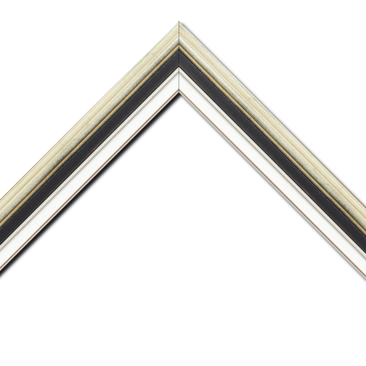 Baguette bois largeur 5.2cm argent gorge noire  marie louise blanche  filet argent intégrée