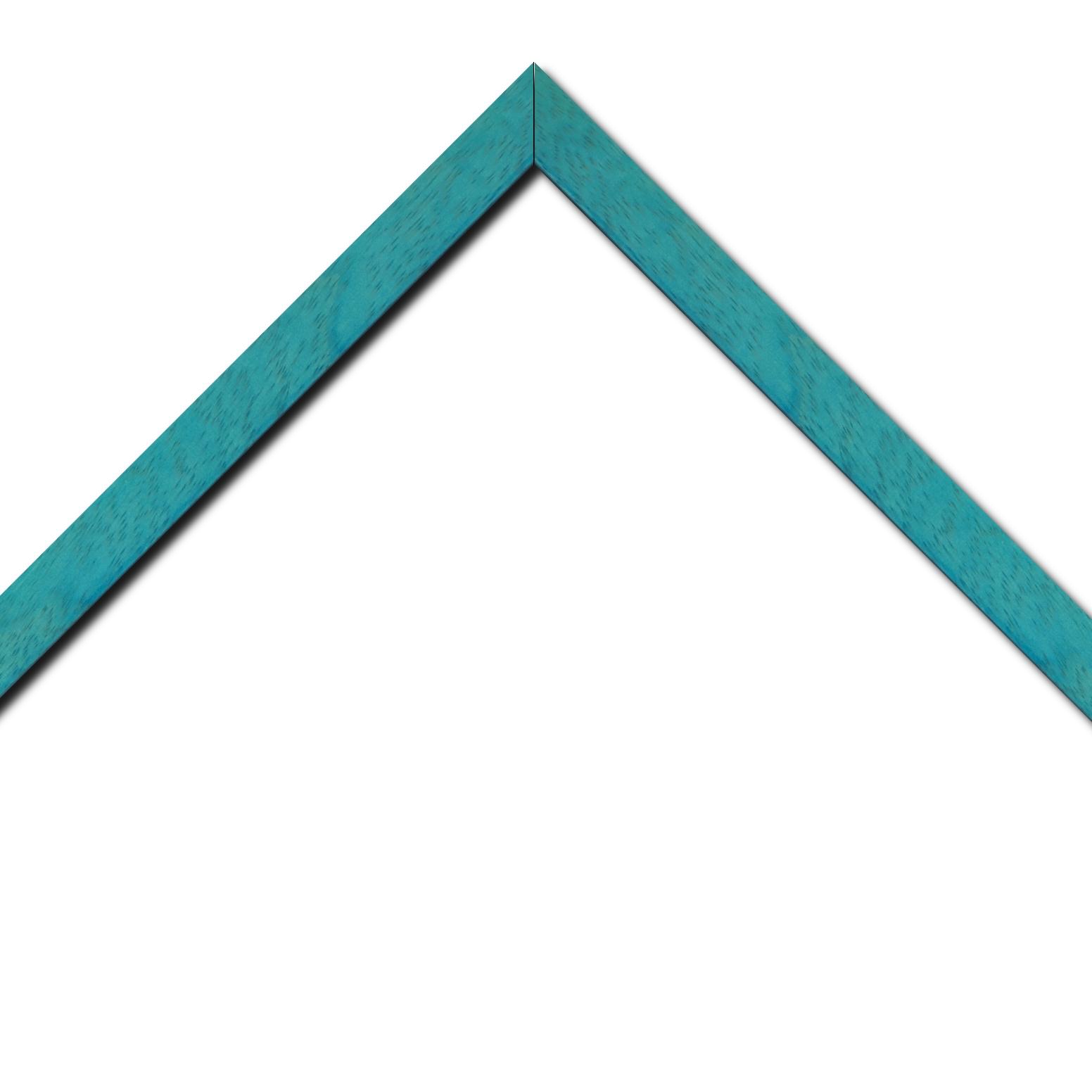 Baguette bois profil plat largeur 2.5cm couleur bleu turquoise satiné