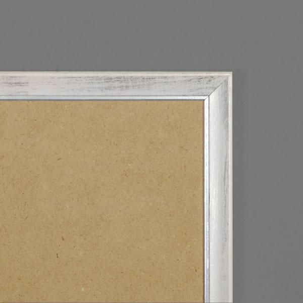 Cadre bois 19mm, blanc fond argent