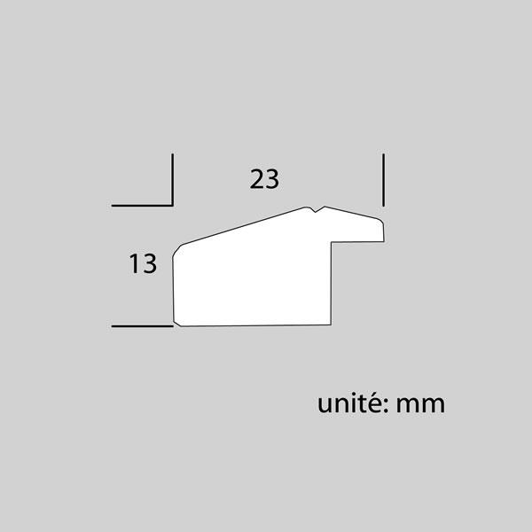 Cadre cadre bois profil plat en pente largeur 23mm complet de couleur bordeaux filet argent dimensions 13x18 cm, à poser ou à suspendre horizontalement ou verticalement. verre normal, mise en place du sujet dans le cadre simple et rapide, ouverture et fermeture du cadre par pointes flexibles. fond en isorel. - 13x18