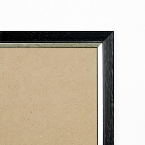Cadre bois 23mm, noir filet argent