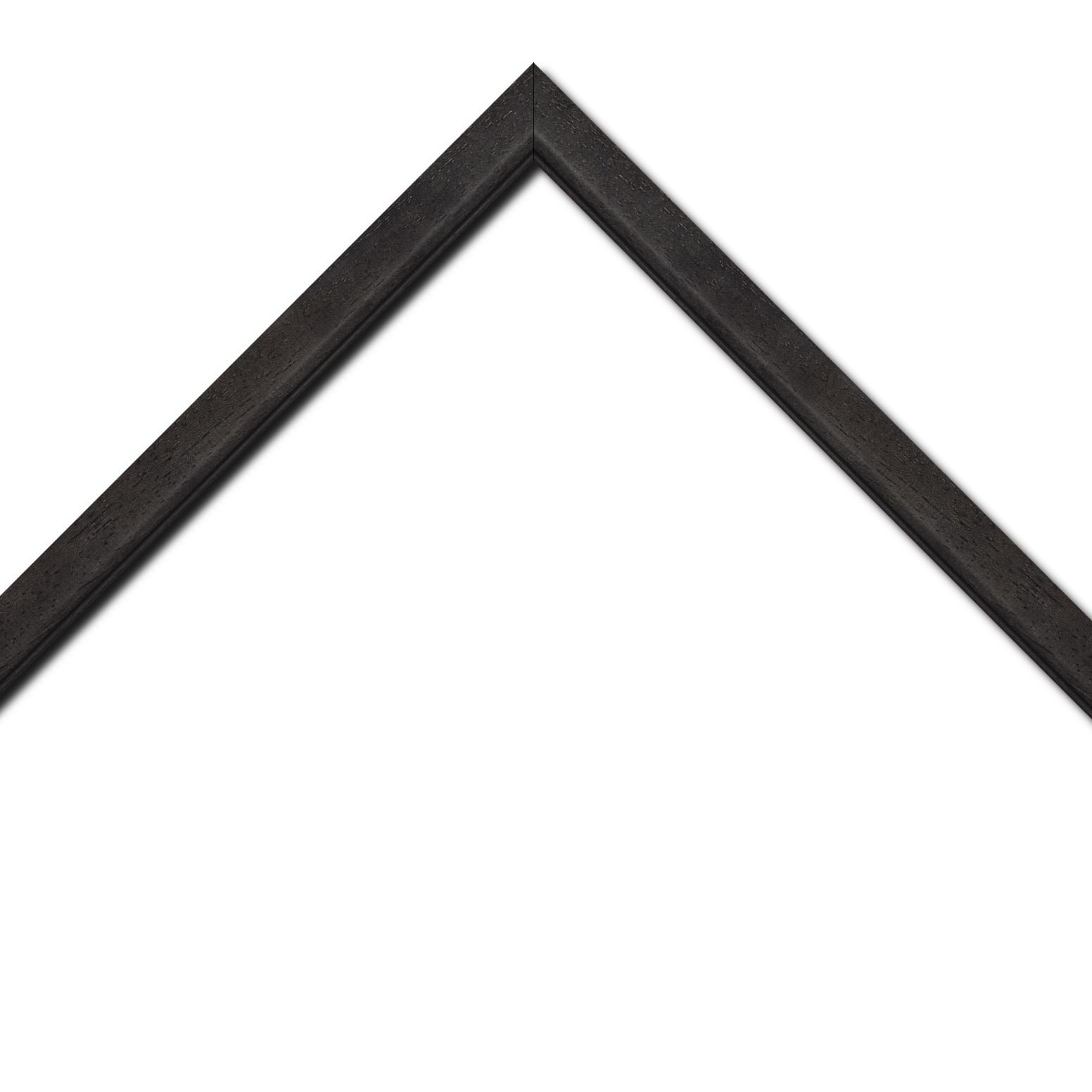 Baguette bois profil bombé largeur 2.4cm couleur noir anthracite satiné