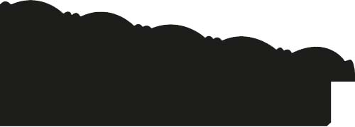 Baguette bois profil incliné largeur 9.9cm argent froid ckromé fond noir décor pointe