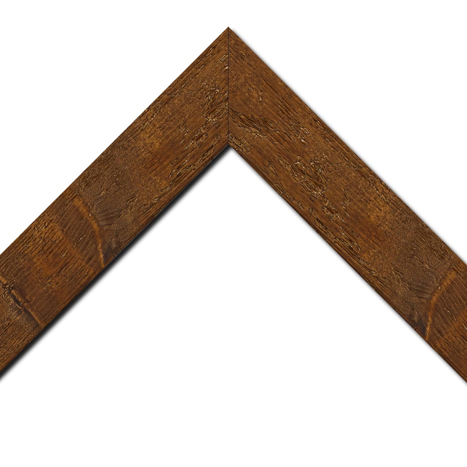 Baguette bois profil plat largeur 6.7cm couleur marron foncé finition aspect vieilli antique