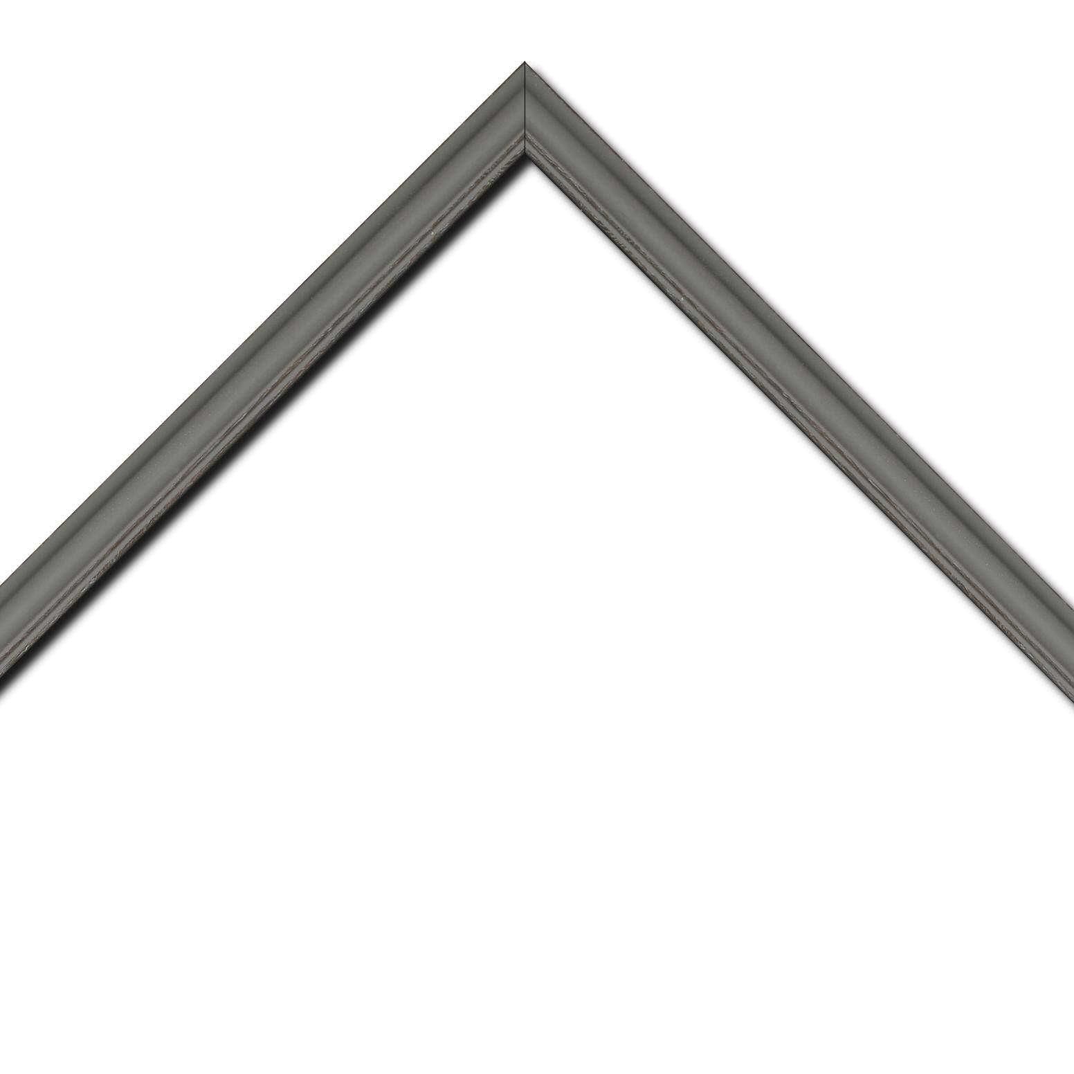 Baguette bois profil doucine inversée largeur 2.3cm gris satiné bord ressuyé
