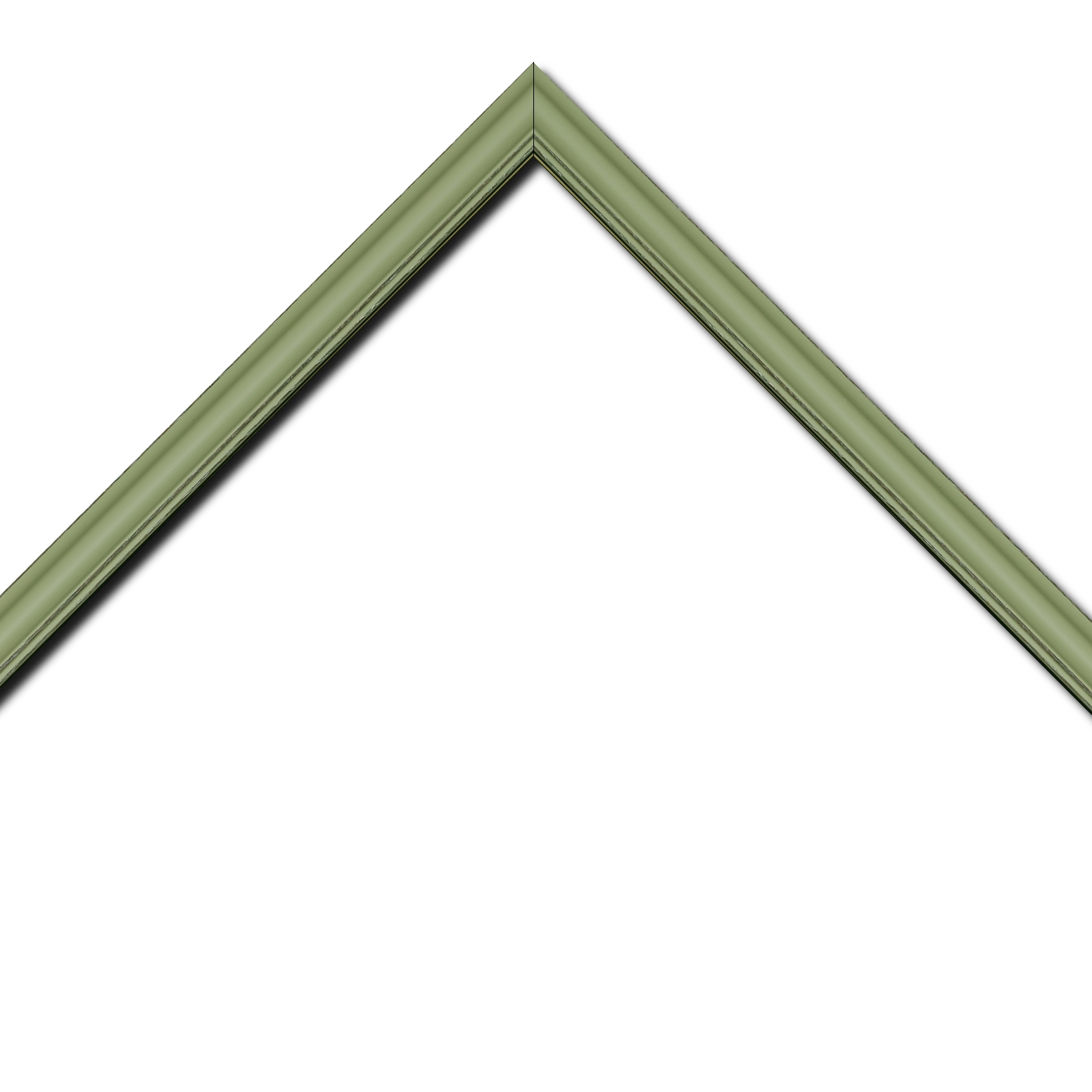 Baguette bois profil doucine inversée largeur 2.3cm vert tilleul satiné bord ressuyé