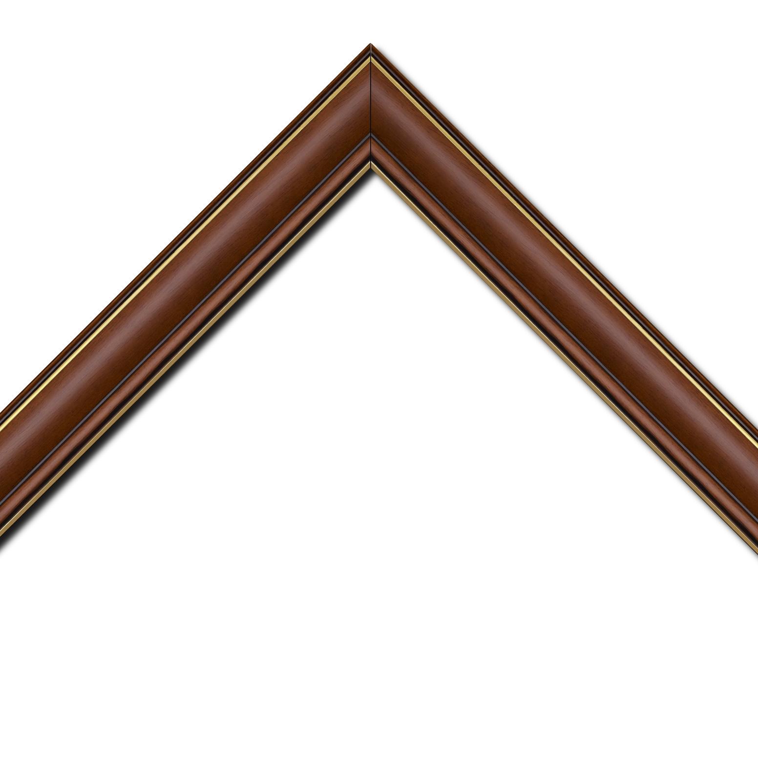 Baguette bois profil doucine inversée largeur 4.4cm  marron rustique filet or