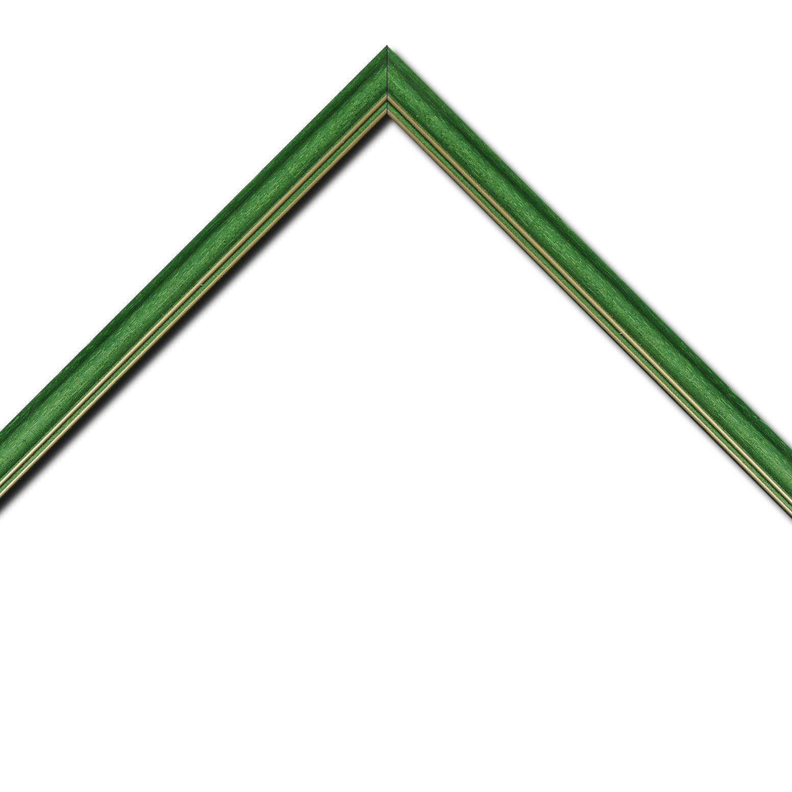 Baguette bois profil doucine inversée largeur 2.3cm vert satiné double filet or