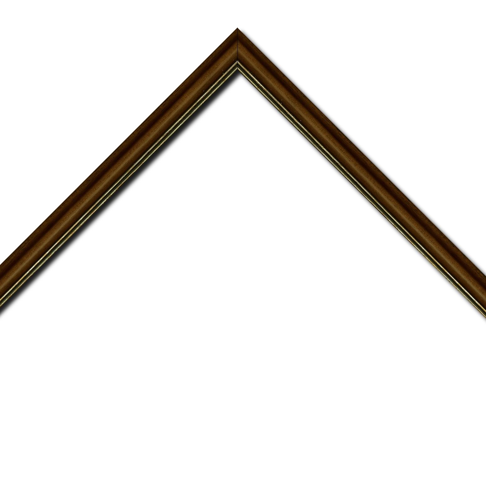 Baguette bois profil doucine inversée largeur 2.3cm marron satiné double filet or