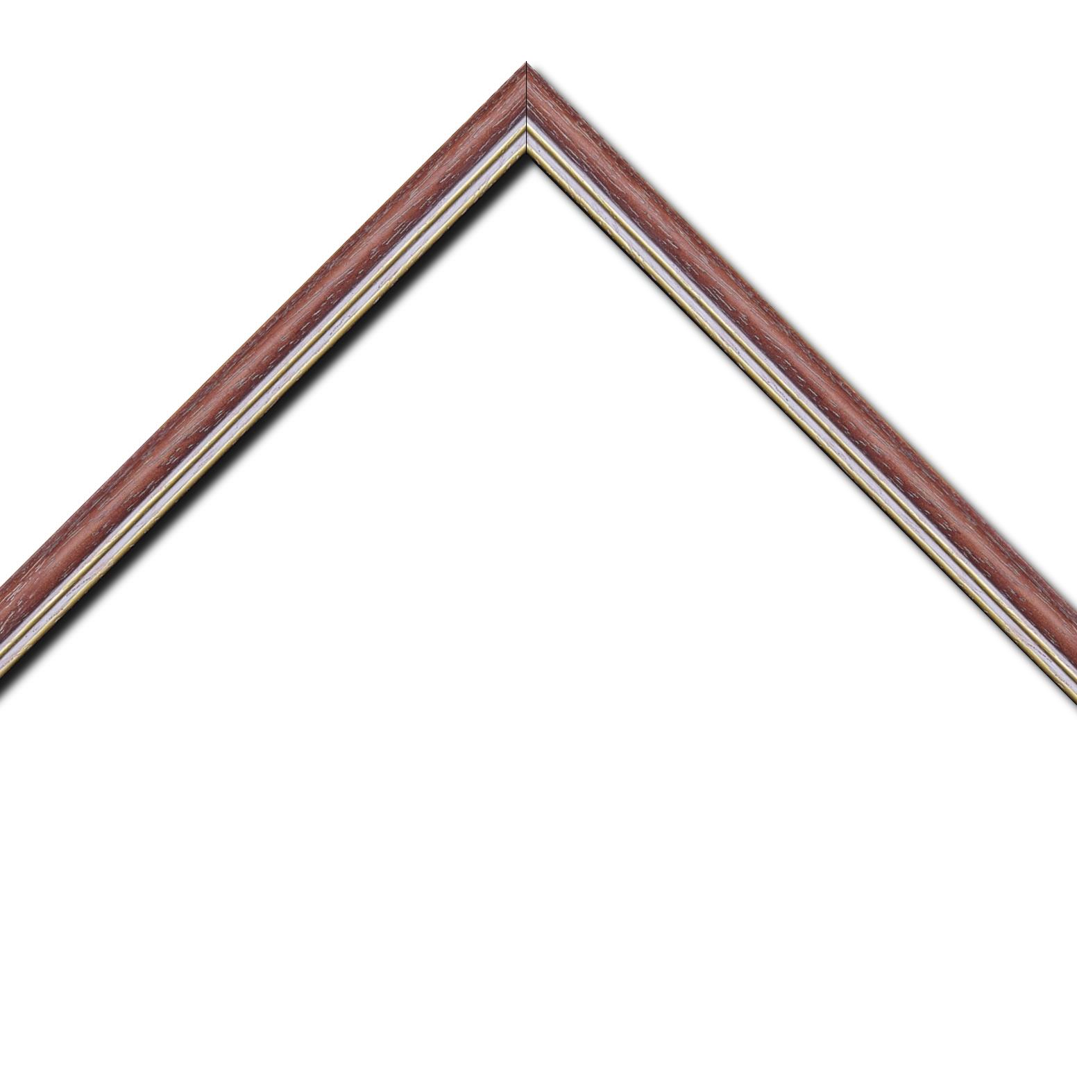 Baguette bois profil doucine inversée largeur 2.3cm framboise cérusé double filet or