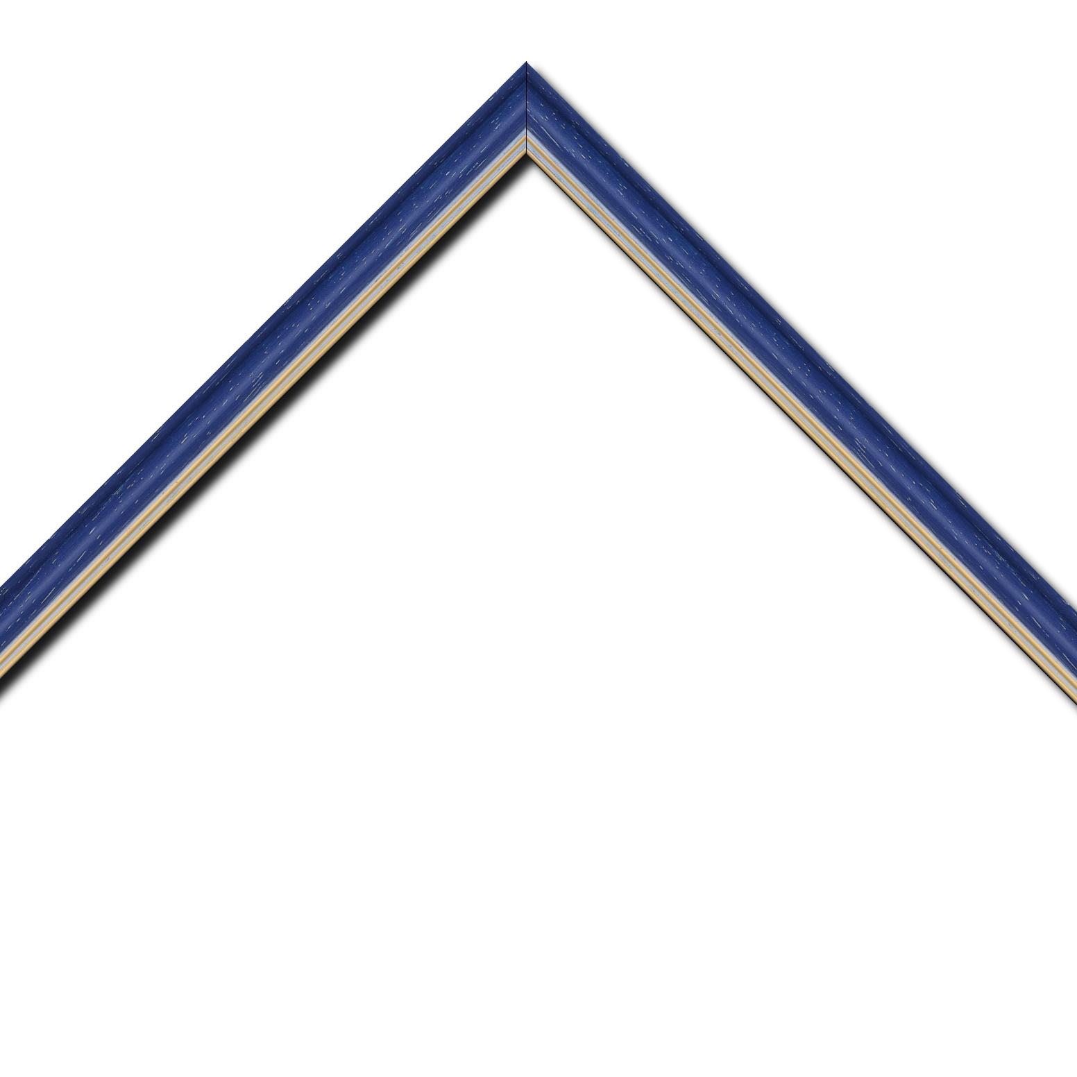 Baguette bois profil doucine inversée largeur 2.3cm bleu cérusé double filet or