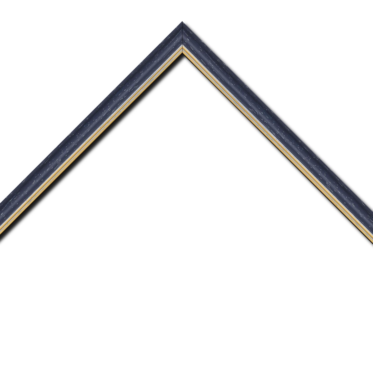 Baguette bois profil doucine inversée largeur 2.3cm noir anthracite cérusé double filet or