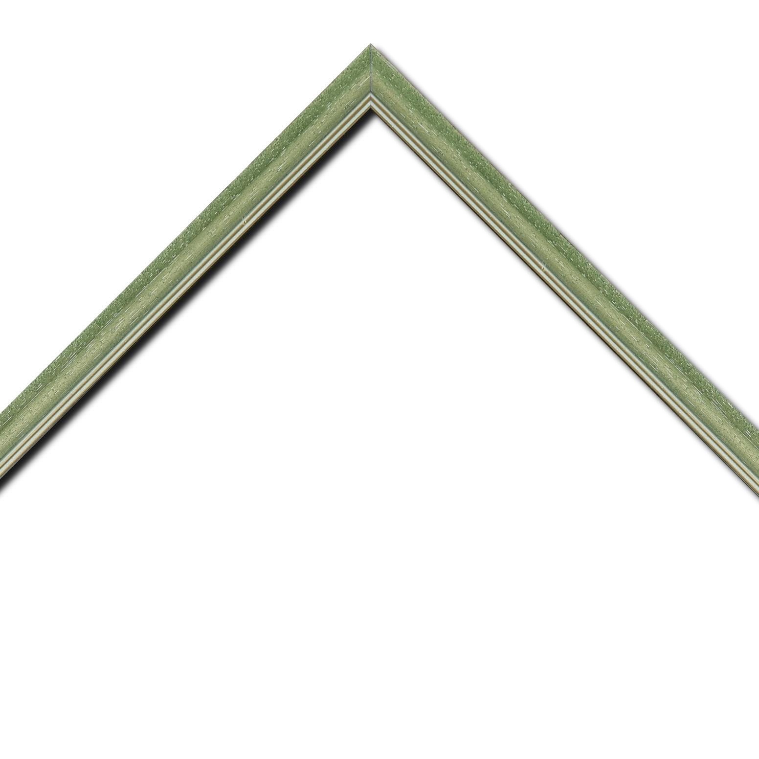 Baguette bois profil doucine inversée largeur 2.3cm vert cérusé double filet or