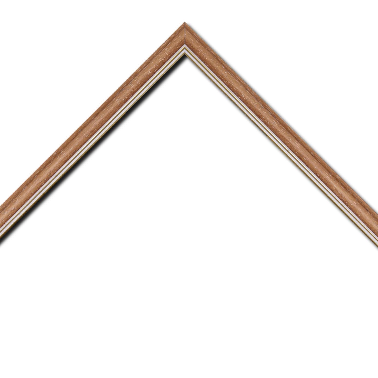 Baguette bois profil doucine inversée largeur 2.3cm saumon cérusé double filet or