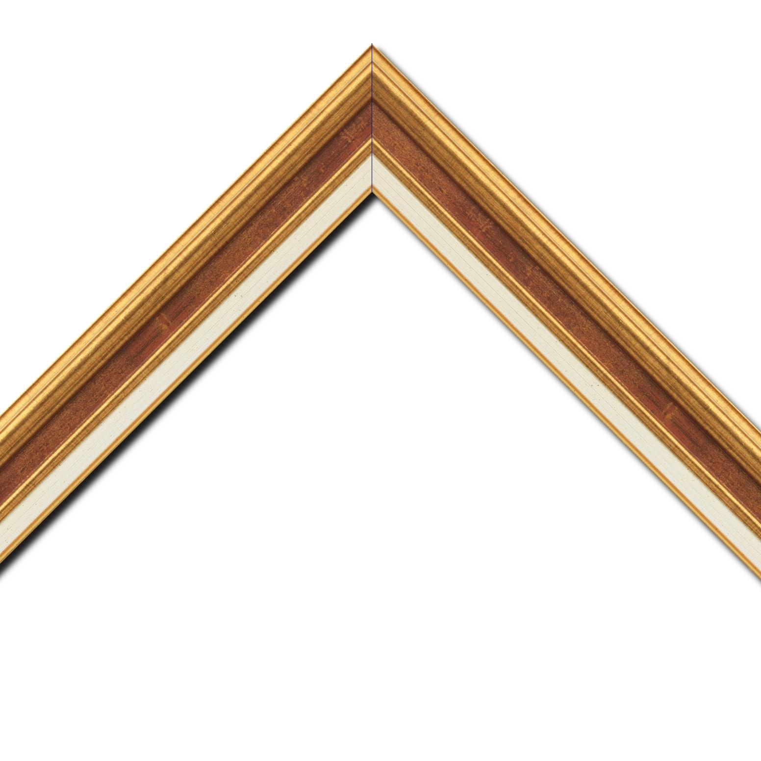 Baguette bois largeur 5.2cm or gorge bordeaux fond or marie louise crème filet or intégrée