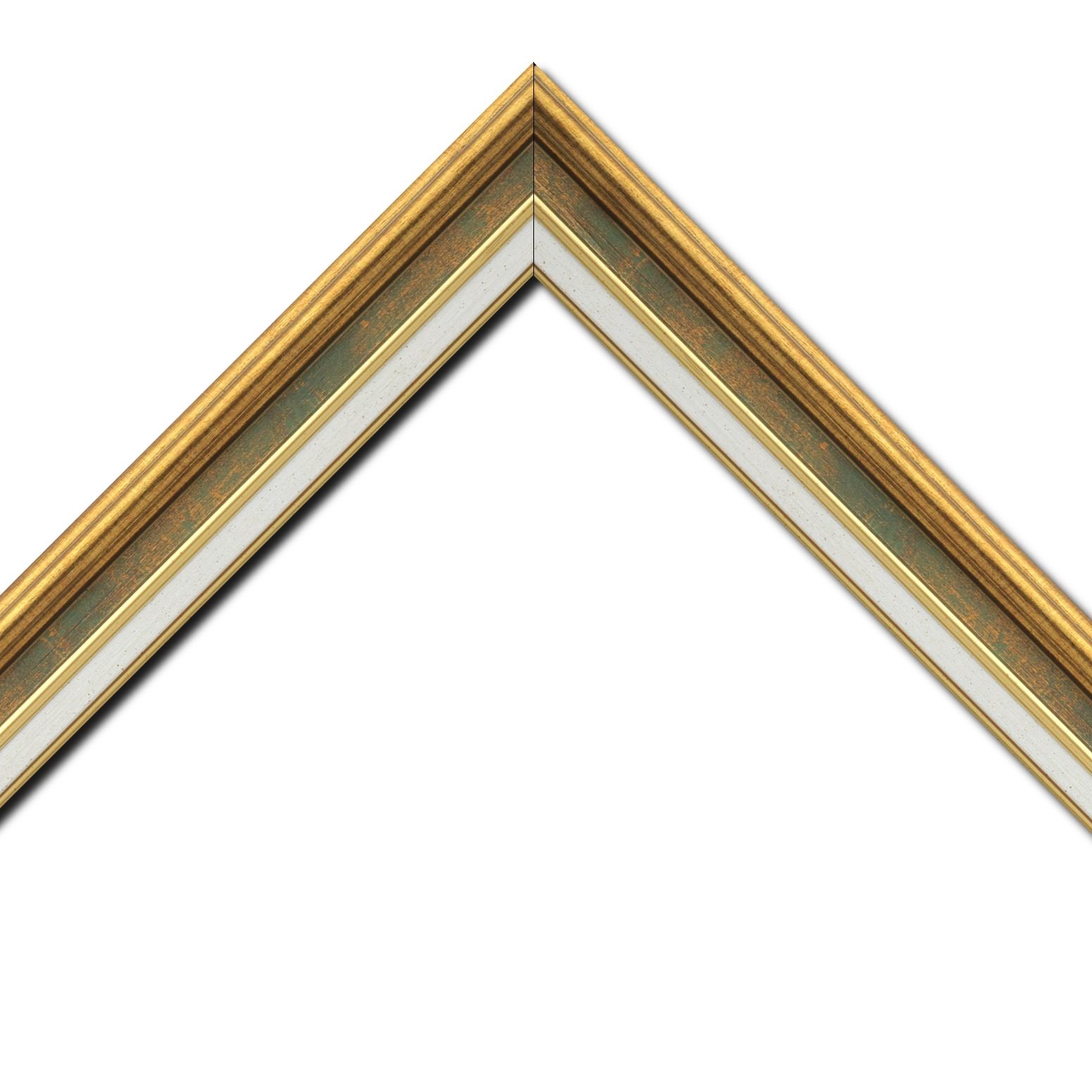 Baguette bois largeur 5.2cm or gorge vert fond or  marie louise crème filet or intégrée