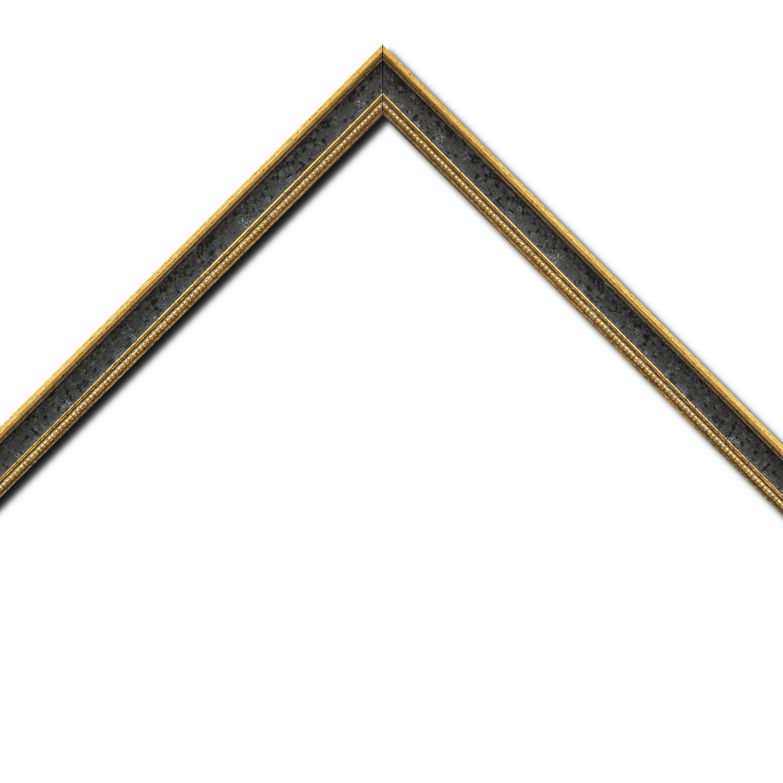 Baguette bois profil incurvé largeur 2.4cm  or antique gorge noir filet perle or