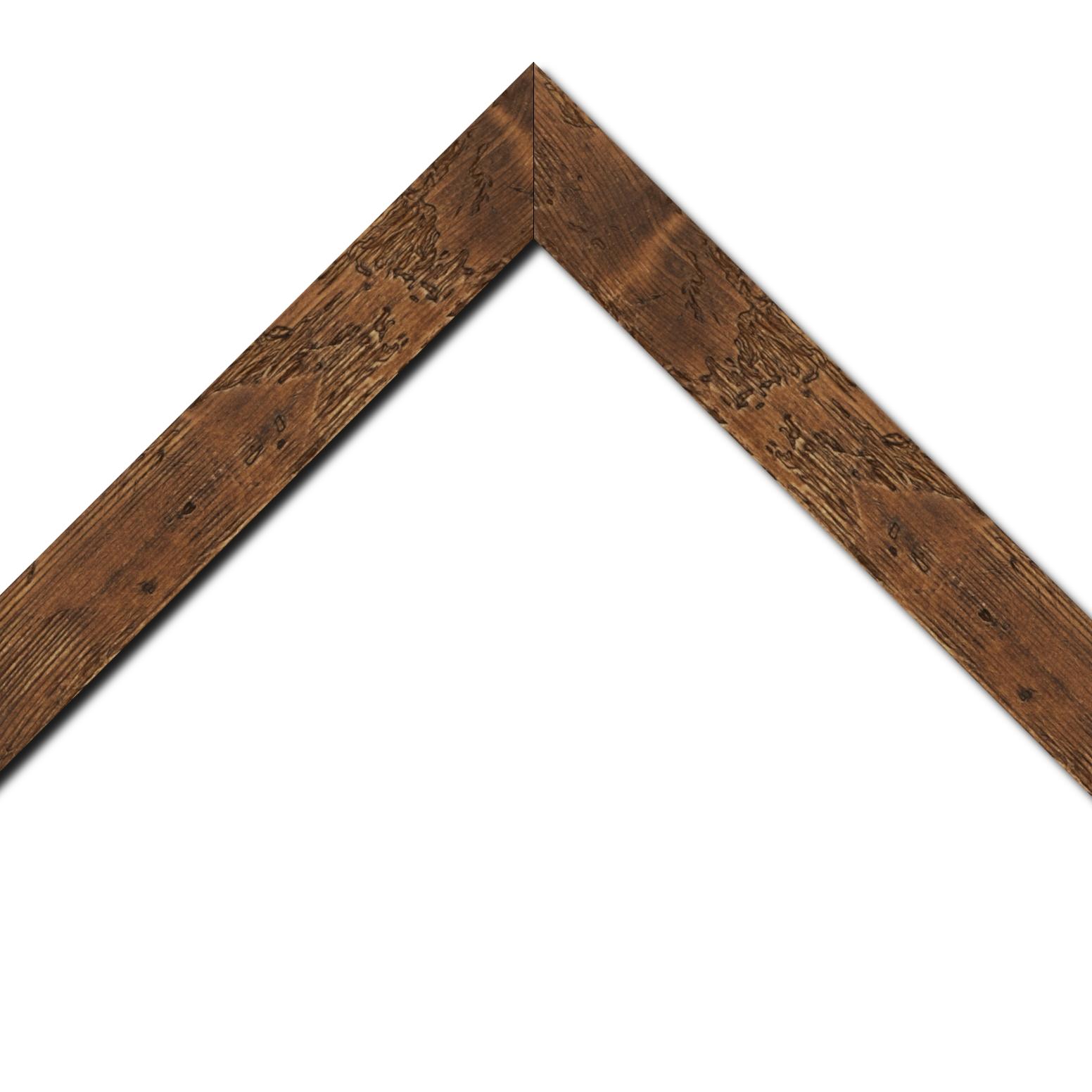 Baguette bois profil plat largeur 4.3cm couleur marron foncé finition aspect vieilli antique