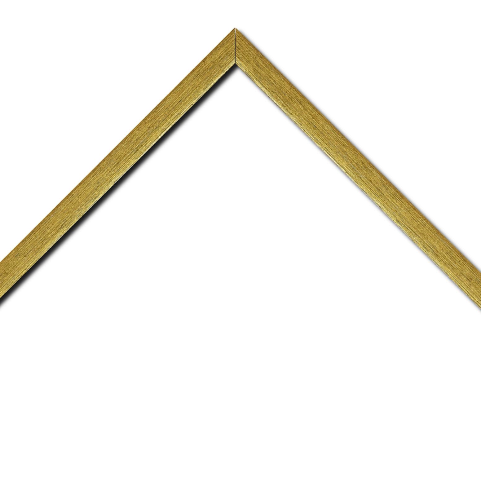 Baguette bois profil plat effet cube largeur 2cm or contemporain satiné haut de gamme