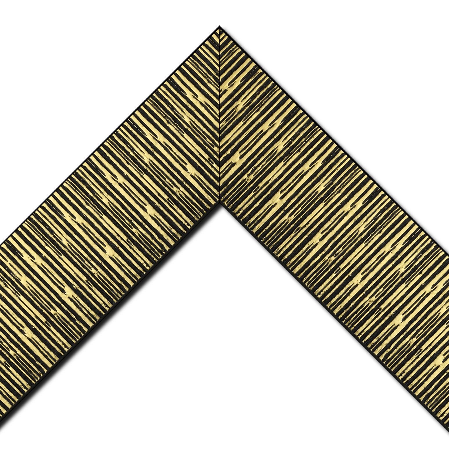 Baguette bois profil plat largeur 10.5cm couleur noir mat strié or ckromé en relief