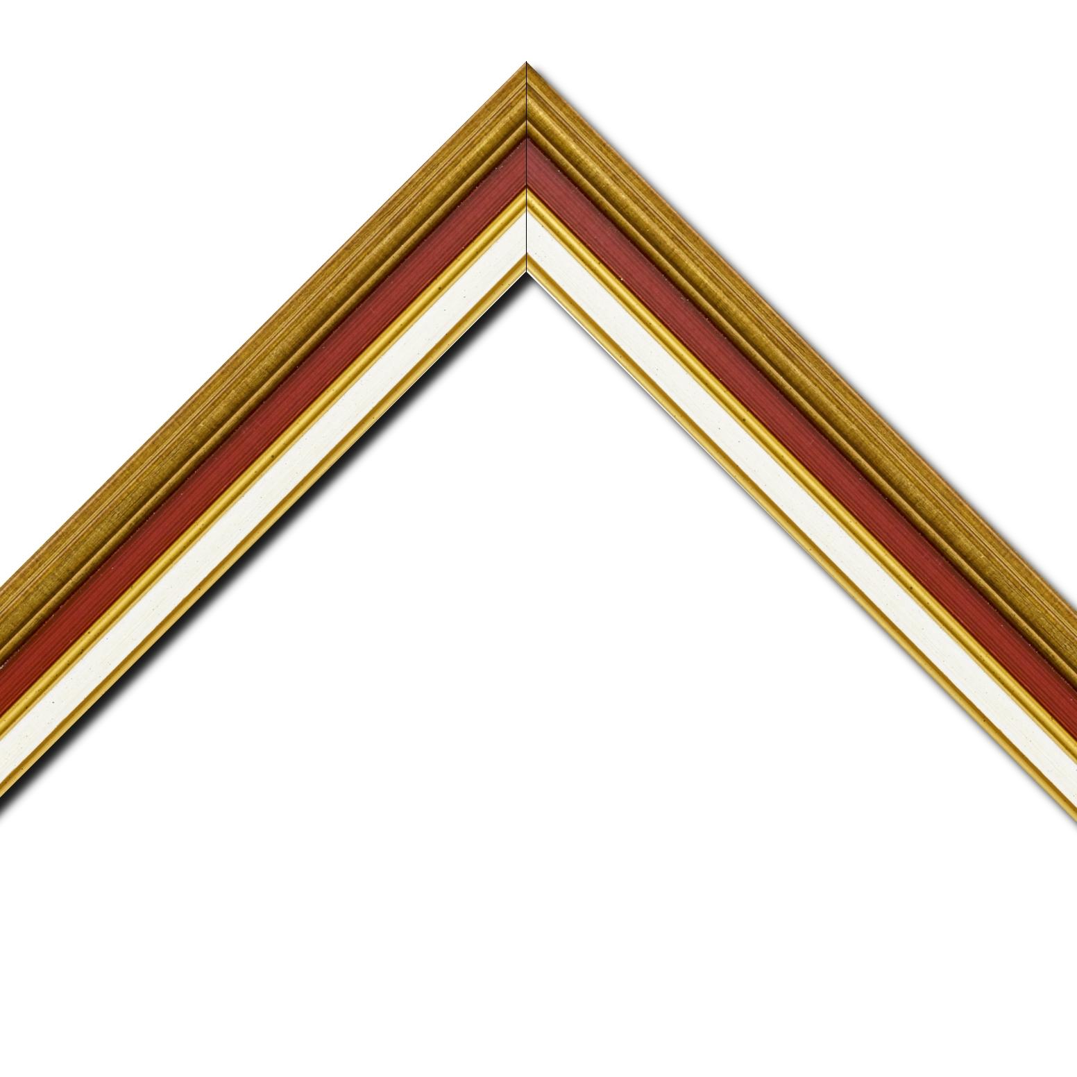 Baguette bois largeur 5.2cm or gorge bordeaux  marie louise crème filet or intégrée