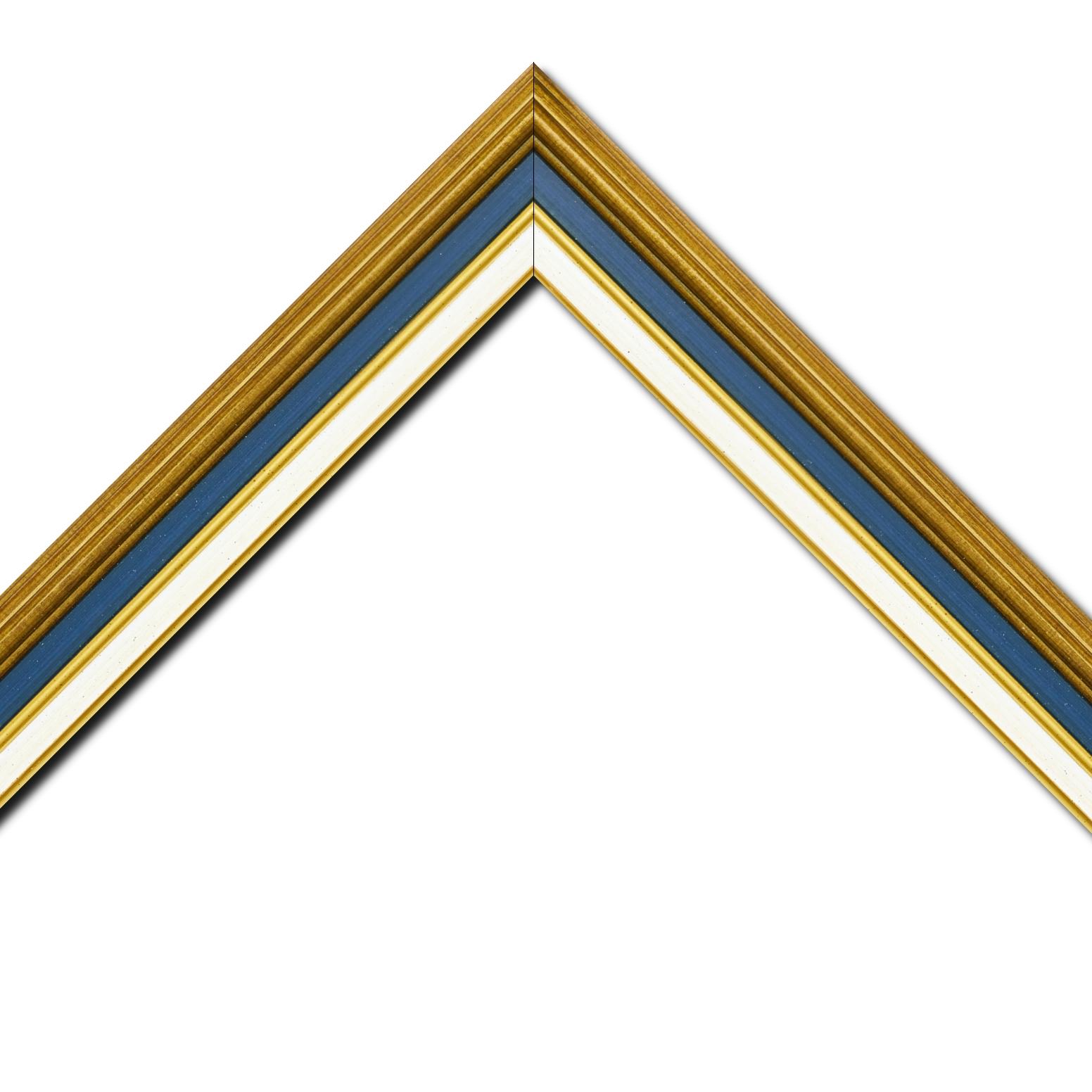Baguette bois largeur 5.2cm or gorge bleue nuit  marie louise crème filet or intégrée