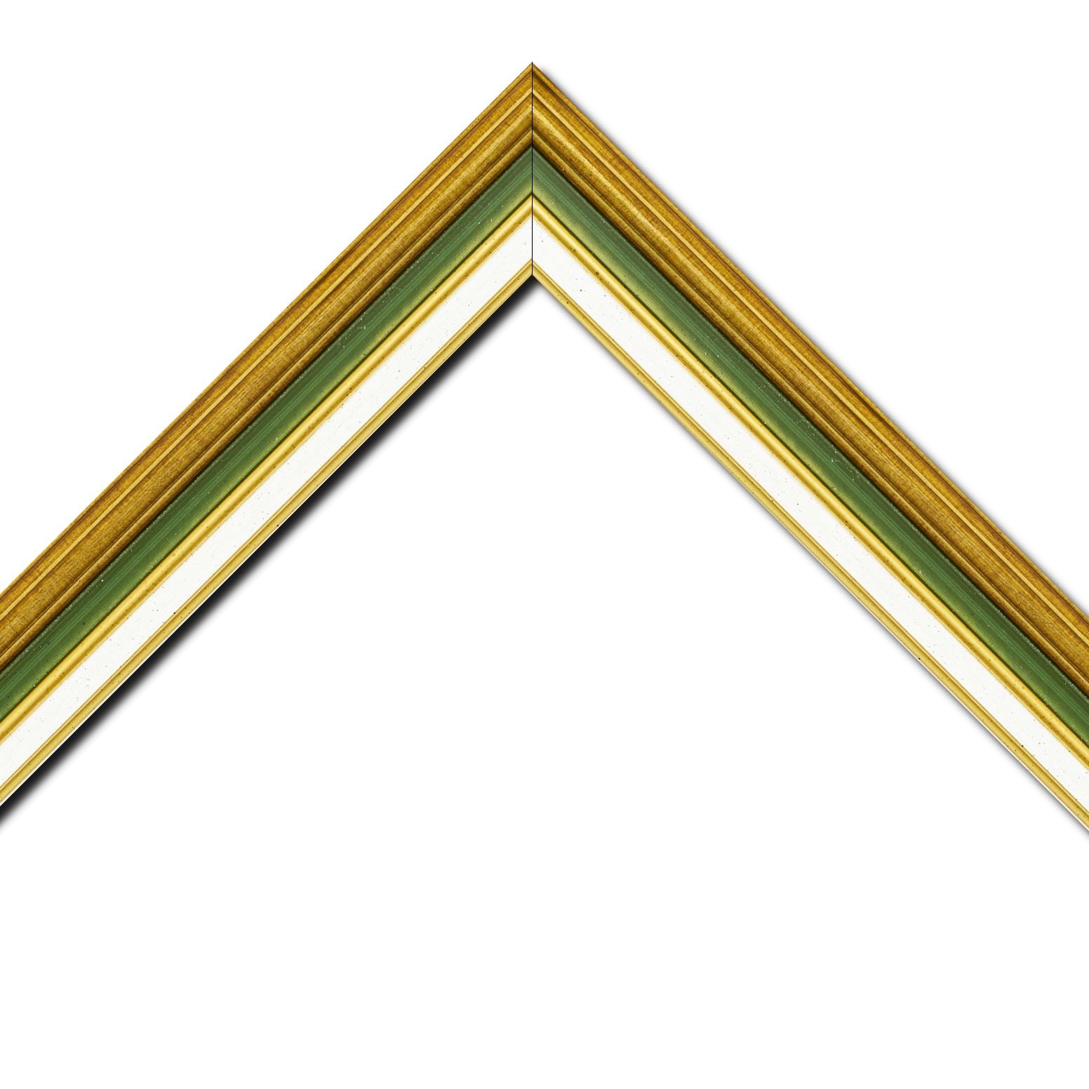 Baguette bois largeur 5.2cm or gorge verte  marie louise crème filet or intégrée