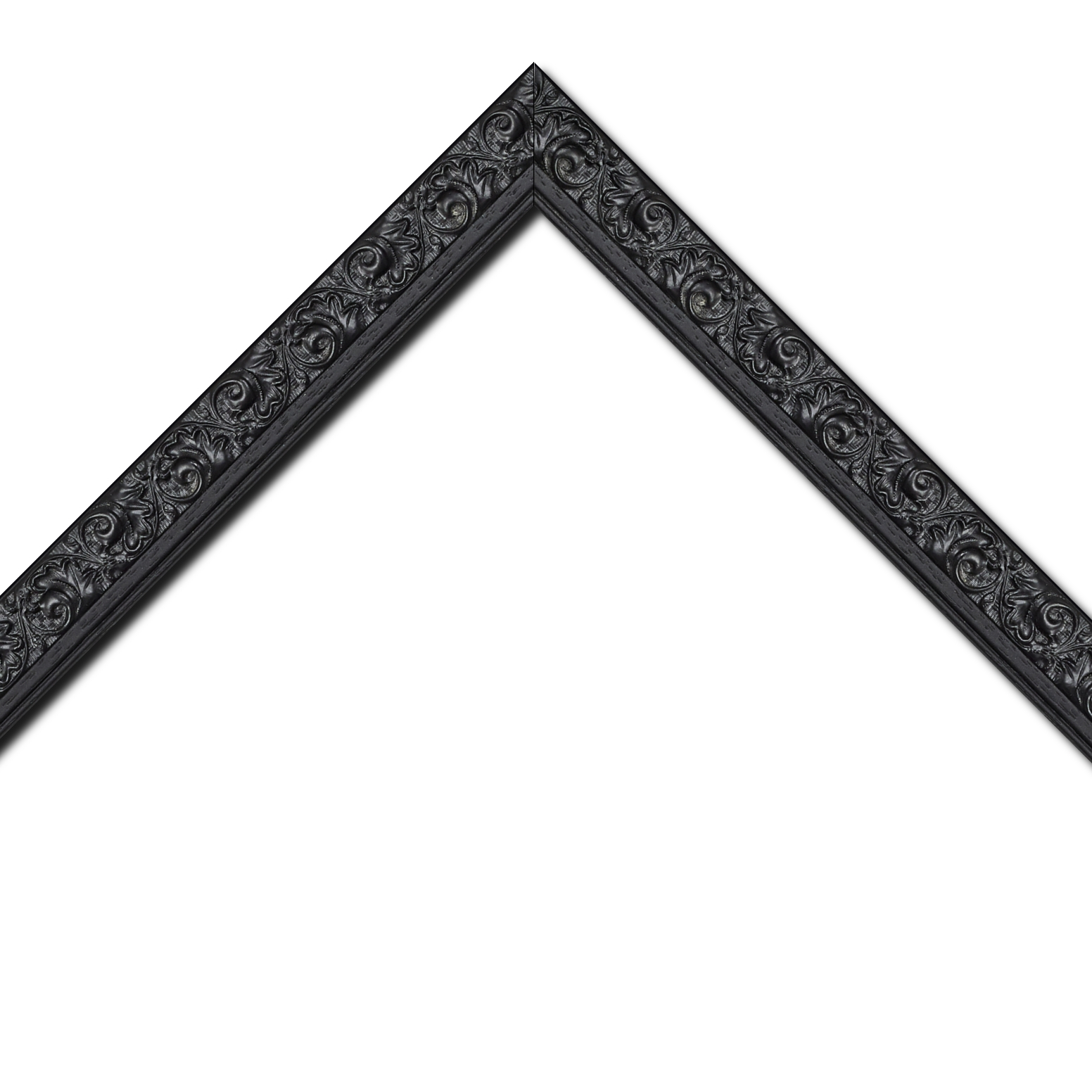 Baguette bois profil plat largeur 3.5cm couleur noir antique satiné décor frise